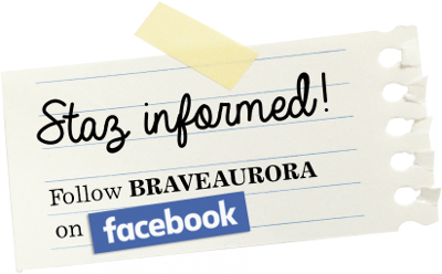 Piece of paper, with written text: Stay informed! Follow BRAVEAURORA on facebook.